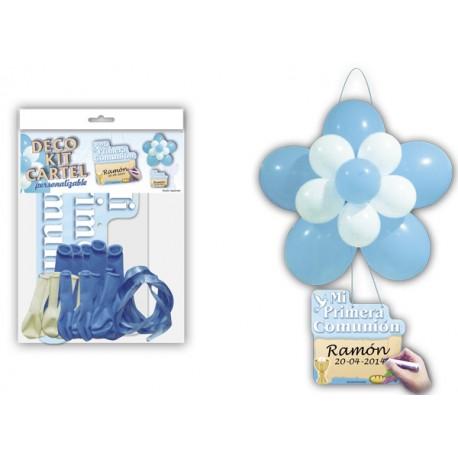 """Deco Kit Flor + Cartel """"Comunión"""" Azul"""