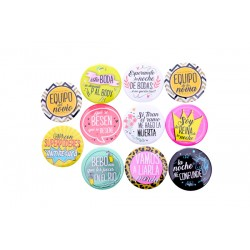 "Lote 10 Chapas frases ""WEDDING"""