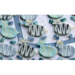 Set 15 cajitas cebras azules