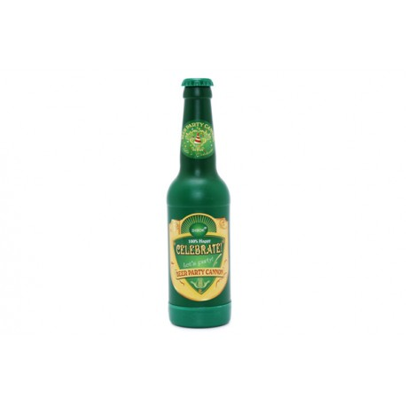 Cañón Confetis Dorado en forma de botella de Cerveza
