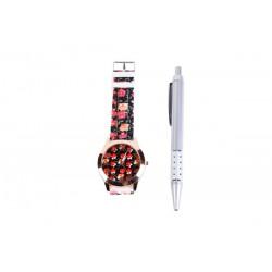 Reloj Floral en caja de regalo + boligrafo