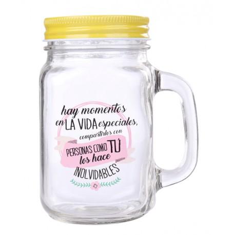 """JARRA CRISTAL CON CAÑA """"MOMENTOS ESPECIALES"""""""
