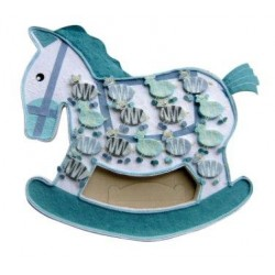 Expositor caballo azul + 15 cajitas cebras